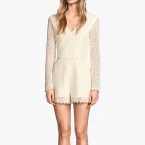 H&M Ivory Lace Embroidered Long Sleeve Romper NWT